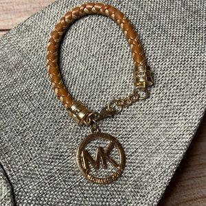 Michael Kors Leather Cord/Gold Charm Bracelet